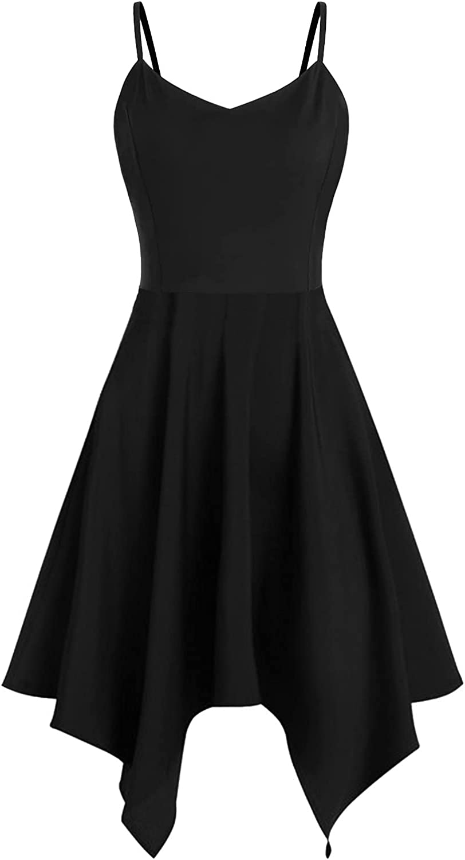 IFOTIME Plus Size Summer Dresses for Women Sunflower Print Spaghetti Strap Sleeveless Asymmetric Short Mini Dress Casual