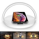 COOWOO ワイヤレス充電器 LEDナイトライト付き タッチ3段階調光 iPhone 11 / 11 Pro / 11 Pro Max/XS/XS Max/XR/X / 8 / 8 Plus/Samsung Galaxy/Xperia 対応 5W & 7.5W & 10W 出力 QI対応 ホワイト