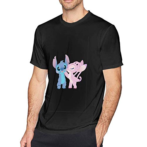 tee Camiseta para Hombre Stitch and Angel Men's Cotton Casual T-Shirt Short Sleeve tee Soft and Comfortable Black