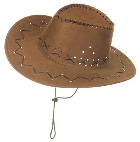 Brandsseller Karneval Kopfbeckung/Hut/Mütze Kostüm/Fasching/ - [ Motive: Cowboy] Damen Kopfschmuck Westernhut (Hellbraun)