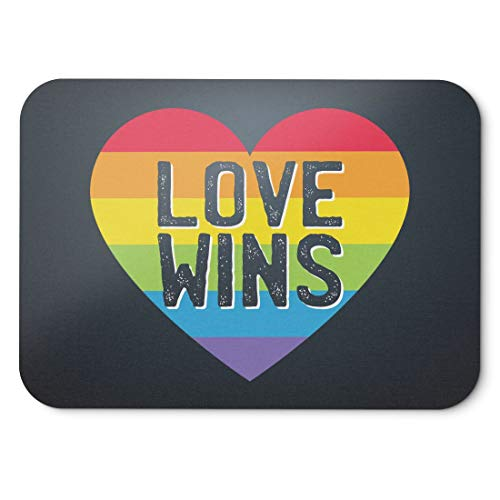 BLAK TEE Love Wins Pride of Gay Mouse Pad 18 x 22 cm in 3 Colours Black