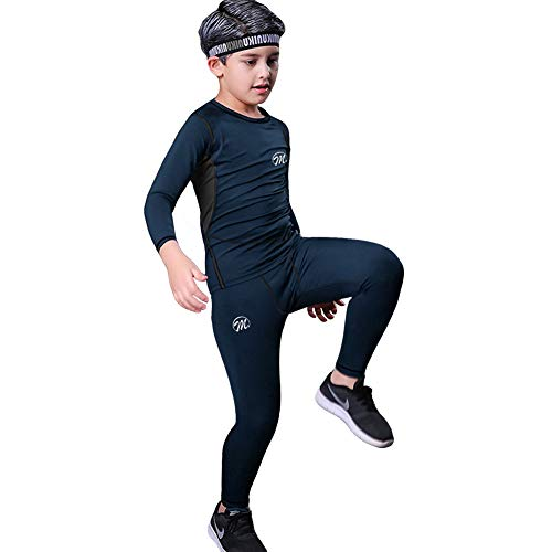 Aojo Thermounterwäsche Kinder, Lang Skiunterwäsche Jungen Funktionsunterwäsche Atmungsaktiv Funktionswäsche Sport Thermo Unterwäsche Set für Running Sking