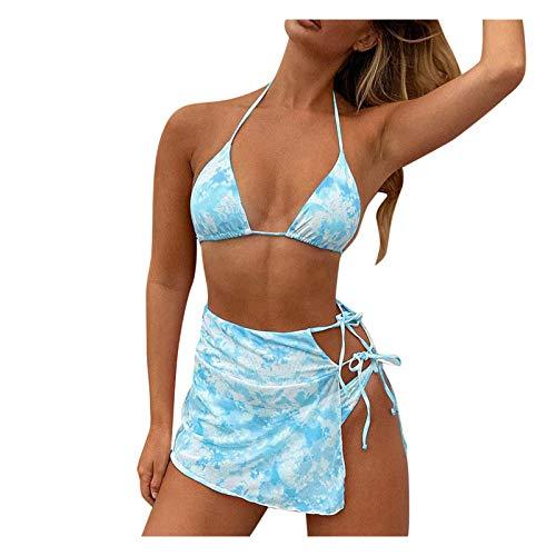 Conjunto de Bikinis de Tela Plisada Traje de baño de Dos Piezas Push up Bikini Vendaje de Bikini de Tres Piezas con Vendaje elástico