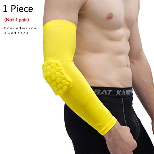 1 x Knieschoner/Basketball-Bandage, elastisch, Knieschoner, Patella-Schaumstoff, Unterstützung für Volleyball, Ellenbogen-Gelb, L