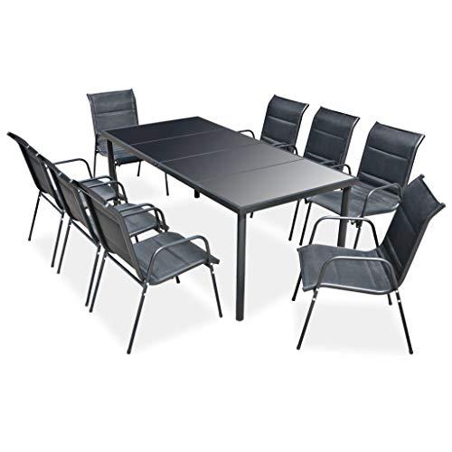 vidaXL Mobilier de Salle à Manger d'Extérieur 9 pcs Table et Chaises à Dîner Salon de Jardin Mobilier de Patio Meubles de Terrasse Acier Noir