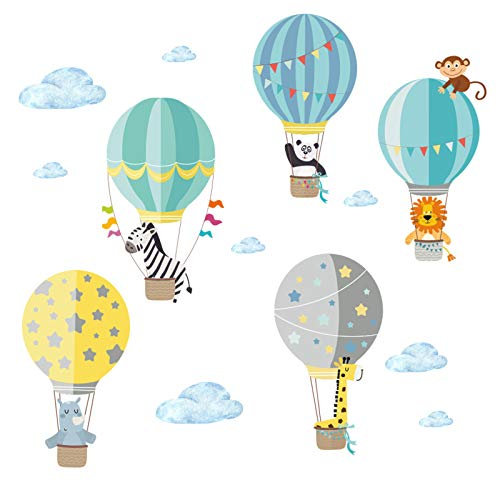 Little Deco Aufkleber Zoo-Tiere im Heißluftballon I S - 65 x 42 cm (BxH) I Wandbilder Wandtattoo Kinderzimmer Jungen Tiere Deko Jungs Babyzimmer Junge Sticker DL202