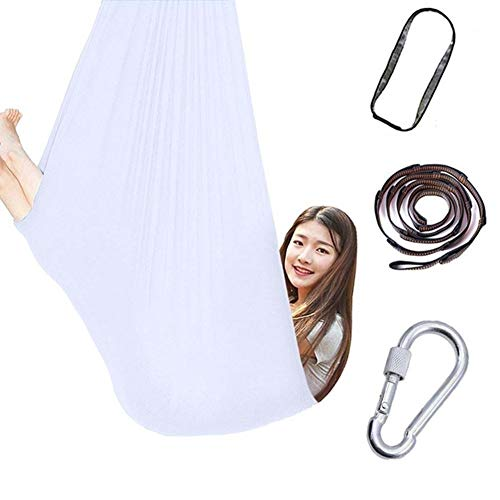 Sensory Swing For Kids Cuddle Hammock Indoor Adjustable Aerial Yoga Children With Autism ADHD Aspergers Integration Up To 440 Lbs/200 Kg (Color : White, Size : 100x280cm/39x110in)