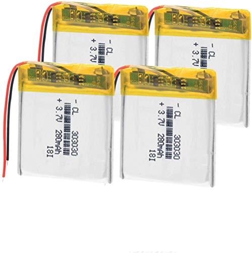 Batería de polímero de Iones de Litio 303030 3,7 v 280 Mah Li Po baterías de polímero de Litio Recargables para Reloj Inteligente Mp3 Mp4 GPS DVD 1 Pieza-4 Piezas
