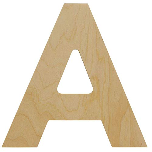 Wooden Letters - A - Unfinished 8 x 9 Inch Decorative Craft Monogram for Wedding Parties and Home Décor with Tool Free Adhesive Foam Squares for Hanging - by Woodpeckers