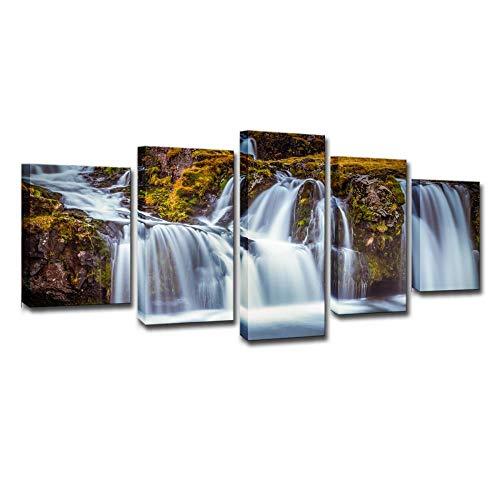 IJsland waterval, 5 Sets van schilderijen, high-definition printen, muurschilderingen, moderne schilderijen, Home Decoration Paintings, Canvas Printing 4X6/8/10Inch Met frame