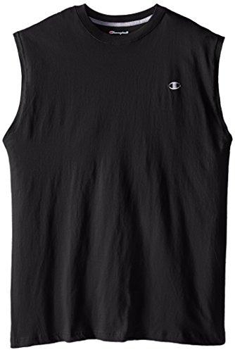 Champion Men's Big-Tall Jersey Muscle T-Shirt, Black, 2X