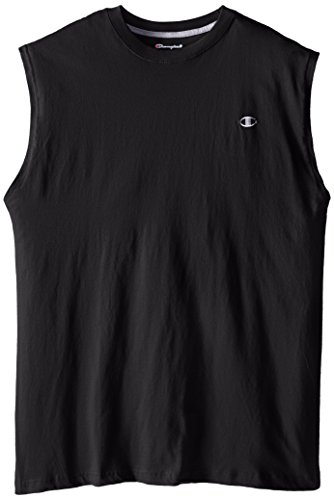 Champion Men's Big-Tall Jersey Muscle T-Shirt, Black, X-Large/Tall