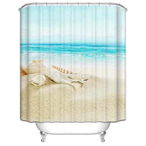 Beydodo 3D Duschvorhang Antischimmel Muscheln Seestern am Strand Vintage Duschvorhang 90x180 cm