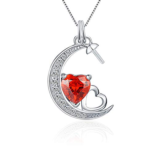 LGSY Sterling Silver Moon Heart CZ Cup Bail Pin Pendant Fitting for Pearl Jewelry, Design Pendant Mount for Women DIY Jewelry Making Gift