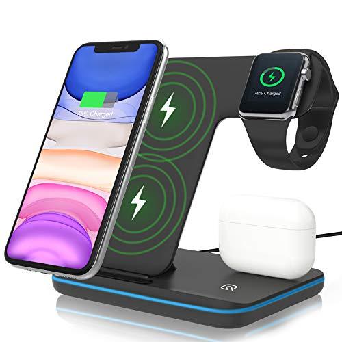 Cargador Inalámbrico ZHIKE, Estación de Carga Rápida 3 en 1 con Certificación Qi de 15 W para Watch Series 6/5/4/3/2/1, Auricular TWS, Soporte de Carga Compatible con Smartphone