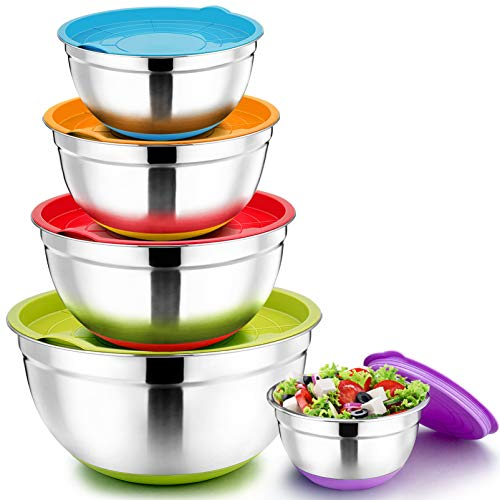 Mixing Bowls with Lids Set of 5, P&P CHEF Stainless Steel Salad Nesting Bowls for Kitchen - Size 7/3.5/2.5/1.5/1 QT, Great for Mixing Serving Storing, Non-Slip Silicone Base & Mirror Finished Inside