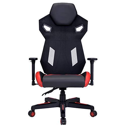 PIG-GIRL E-Sports Gaming Chair, ergonómico, Transpirable Malla + PU Material Cuero, Silla de elevación Ordenador PC giratoria, con Apoyo para la Cabeza/Cintura Almohad