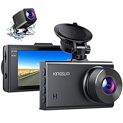 Kingslim D2 2.5K Dual Dash Cam, 1440P&1080P Front and Rear Camera for Cars 170 Degree Driving Recorder with Sony Starvis Sensor Night Vision G-Sensor Parking Mode Support 128GB Max