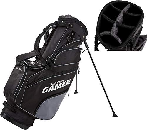 2019 Top-Flite Gamer Golf Stand Bag 7-Way Top 7 Pockets Mesh Carry Strap Beverage Cooling (Black)