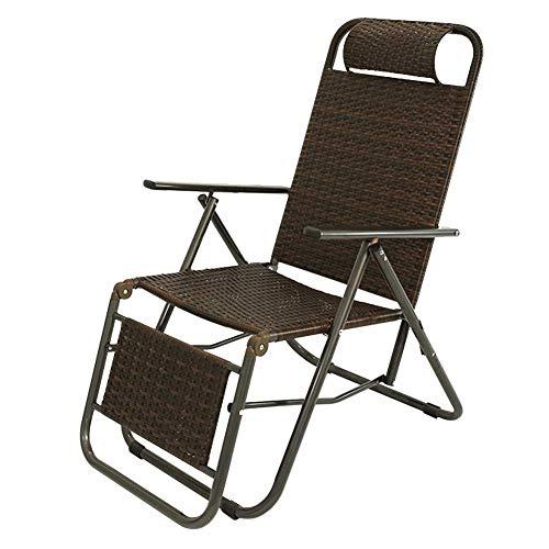 AWJ Mecedora de Interior para Exteriores, ratán de Mimbre, sillón de salón Ajustable de Gravedad Cero, sillones reclinables Vintage para Patio, Piscina, terraza, hogar,