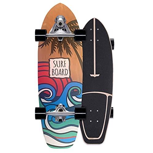 Rgzqrq Monopatín De Surf De 29'con Camión De Talla, Monopatín Completo De Bote Auxiliar Multicolor,20