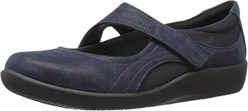 CLARKS Womens Sillian Bella Mary Jane Flat, Navy Synthetic, 7 M US