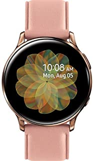 Samsung Original Galaxy Watch Active2 w/; auto Workout Tracking, and pace Coaching Enhanced Sleep Tracking Analysis Stainless Steel CASE and Leather Band (International Model) (Gold, 44mm) No LTE