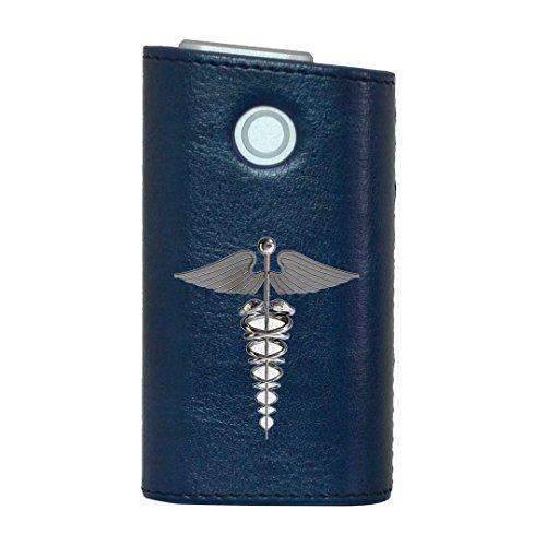 glo グロー グロウ 専用 レザーケース レザーカバー タバコ ケース カバー 合皮 ハードケース カバー 収納 デザイン 革 皮 BLUE ブルー ユニーク 羽 翼 シルバー 002953