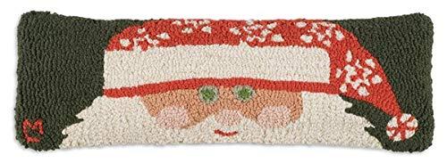 "Chandler 4 Corners Artist-Designed Peeking Santa Hand-Hooked Wool Decorative Christmas Throw Pillow (8"" x 24"")"