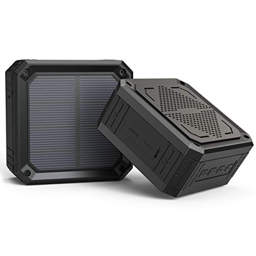 Solar Speaker ABFOCE Portable IPX6 Waterproof Bluetooth Speaker 15 Hours of Playtime Rich Stereo Bass Shockproof Dustproof for Home and Outdoor Wireless Speaker-Black