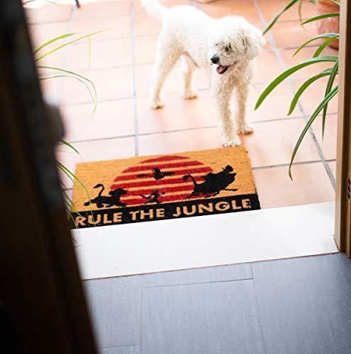 Felpudo Disney Rey Leon, Rule the Jungle - Felpudo entrada casa antideslizante 40 x 60 cm - Alfombra entrada casa exterior Disney, Fabricado en fibra de coco - Productos con licencia oficial