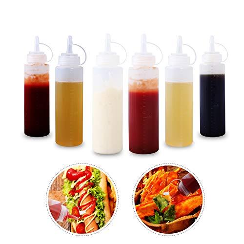 Herefun 10pcs Squeeze Flasche mit Kappen 240ml 8oz, Quetschflasche Transparent, Squeeze Condiment Flaschen für Ketchup, Senf, Mayonnaise, Öl, heiße Soßen Home Küche & Restaurant & BBQ