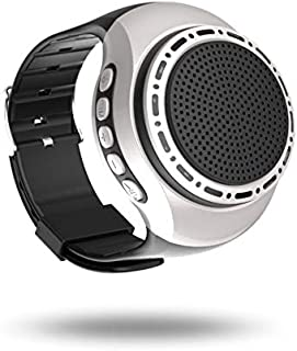 Wireless Watch Speaker Portable Wearable Mini Sport Stereo Subwoofer Speakers with Speakerphone, Multi Function MP3 Player&Anti-Lost&Ultra Long Standby Time for Any Smarter Phone(Silver)