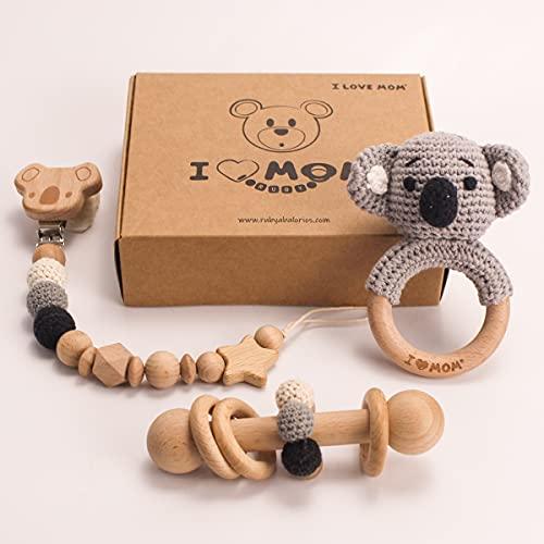 RUBY-Conjunto Cadena Chupete Crochet Madera Cadena Chupete Bebe Mam Cadena Chupetes Koala Sonajero de Madera Animal Sonajero Koala Caja Regalo 3Ppiezas (Koala )
