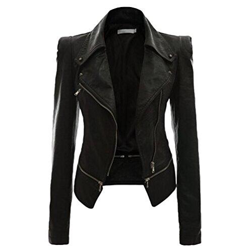 NiSeng Chaqueta para Mujer Chaquetas Imitación Cuero Moto Cazadoras Chaqueta de Motorista Entallada Negro M