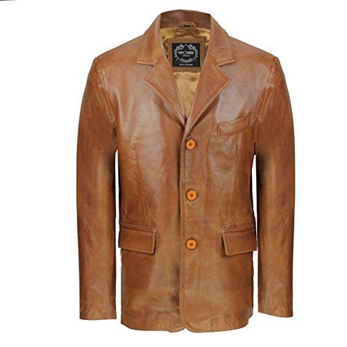 LLD Original - Giacca da uomo vintage di media lunghezza in vera pelle di pecora, colore nero e marrone chiaro Marrone chiaro L