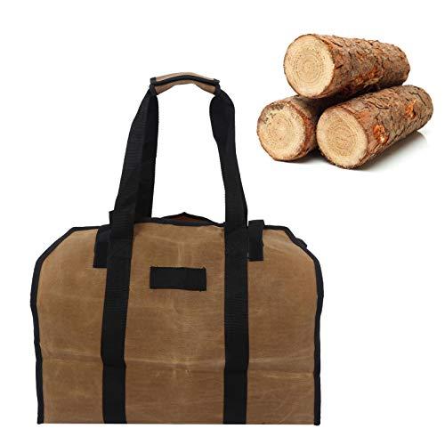 OIHODFHB Lodo Color impermeable leña portador bolsa encerado lona tronco Tote titular para acampar al aire libre