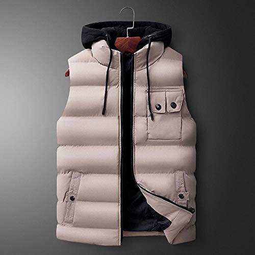 Veste en Coton à Capuchon épaisse détachable à Capuche pour Hommes Automne Hiver Veste Grande Taille sans Manches Gilet Body Warmer-Khaki_5XL