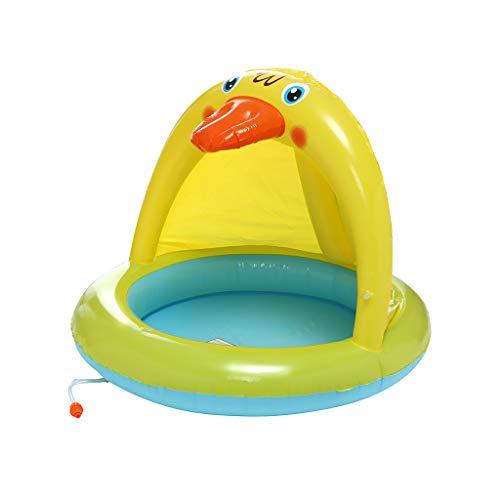 Gmgod Anillo de natación, piscina para bebés, patito con dosel, piscina de spray de 40 pulgadas, rociador de agua