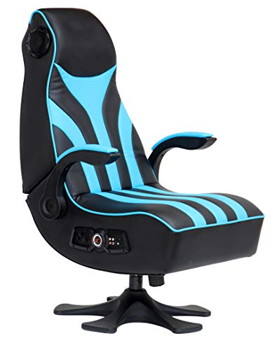 X Rocker, 5134701, CXR1 2.1 Wireless Gaming Chair with Vibration and Flip-up Arms, 32.08 x 24.8 x 43.11, Black/Teal