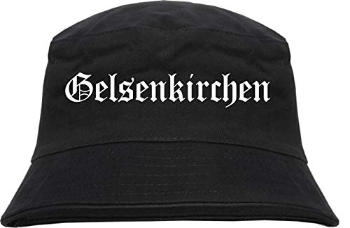 Gelsenkirchen Fischerhut - Altdeutsch - Bedruckt - Bucket Hat Anglerhut Hut Schwarz L/XL