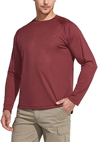 CQR Herren UPF 50+ Outdoor-T-Shirts, UV-Sonnenschutz lässiges Wasser-T-Shirts, Laufen Trainings-Hemd, Tol003 1pack - Chili, M