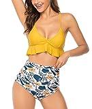 UMIPUBO Costume da Bagno Due Pezzi Donna Brasiliana Bikini a V-Collo Ruffles Regolabile Costumi da Mare Push Up Imbottito Reggiseno Abiti da Spiaggia Vita Alta, Grigio, S