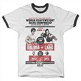 Rocky Oficialmente Licenciado World Heavyweight Poster Ringer Camiseta para Hombre (Blanco-Negro), XX-Large