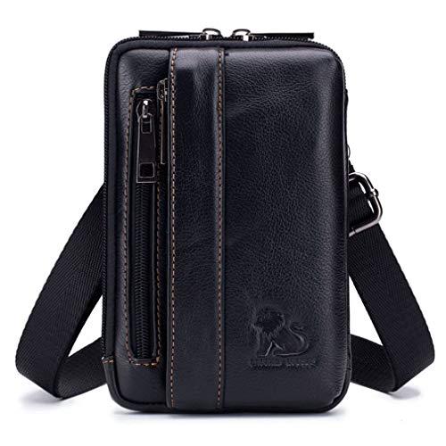 Bolso pequeño de cuero con bandolera, bolso de mano para teléfono, cartera, monedero, gancho, lazo, cintura, riñonera, viaje, acampar al aire libre, senderismo negro