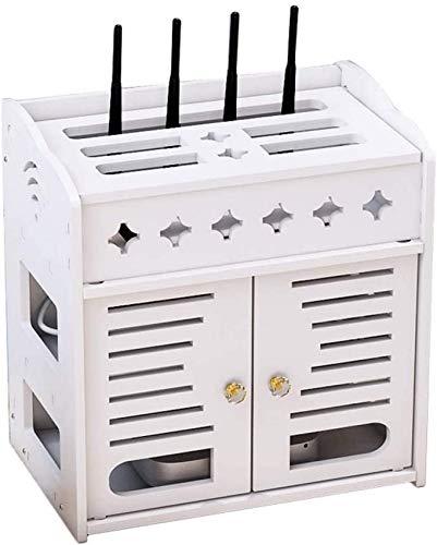 Almacenamiento creativo, caja de almacenamiento WiFi de escritorio, decodificador multifuncional blanco, estante, tablero blanco de madera y plástico, cable de alimentación, tablero enchufable, caja
