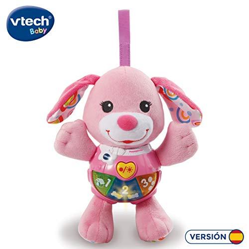 VTech-Peque Perrito de Peluche Interactivo con Canciones Voces y Actividades Que estimulan al bebé en Diferentes aspectos Desarrollo Motor, del lenguaje y sensorial, Color Rosa (3480-502357)