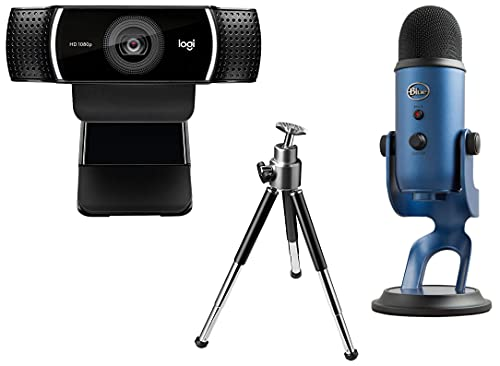 Logitech C922 Pro Stream Webcam, Full HD 1080p Streaming with Tripod (Black) + Blue Microphones Yeti USB Microphone for PC and Mac