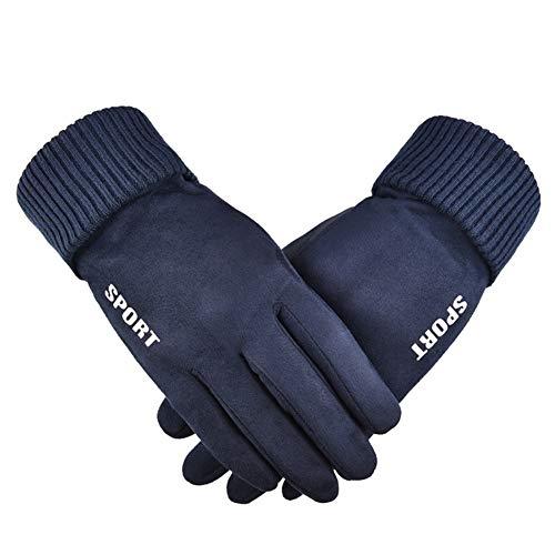 Guantes de Gamuza para Hombre, para Invierno, Todos los Dedos, cálidos, con Pantalla táctil de Terciopelo, Resistente al Viento, para Correr, Conducir Azul Azul Talla única