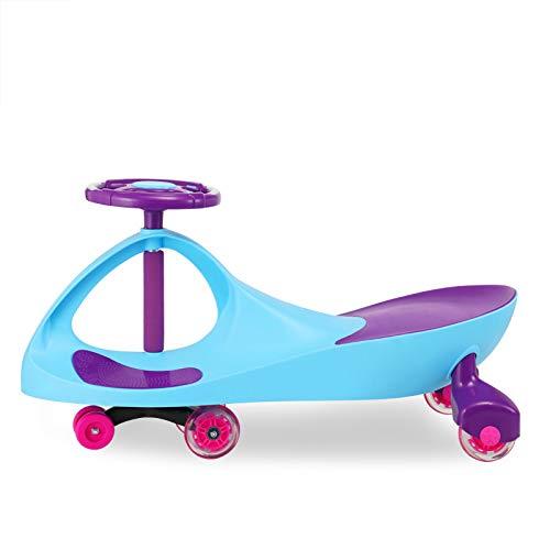 Rabbfay Car Swing Gyro Car Swivel Mit Zahnrädern Spielen Im Freien Spielzeug Für Kinder Keine Batterien, Rolling Coaster Der Wackel-Wackel-Rennwagen Premium Scooter,Lightblue